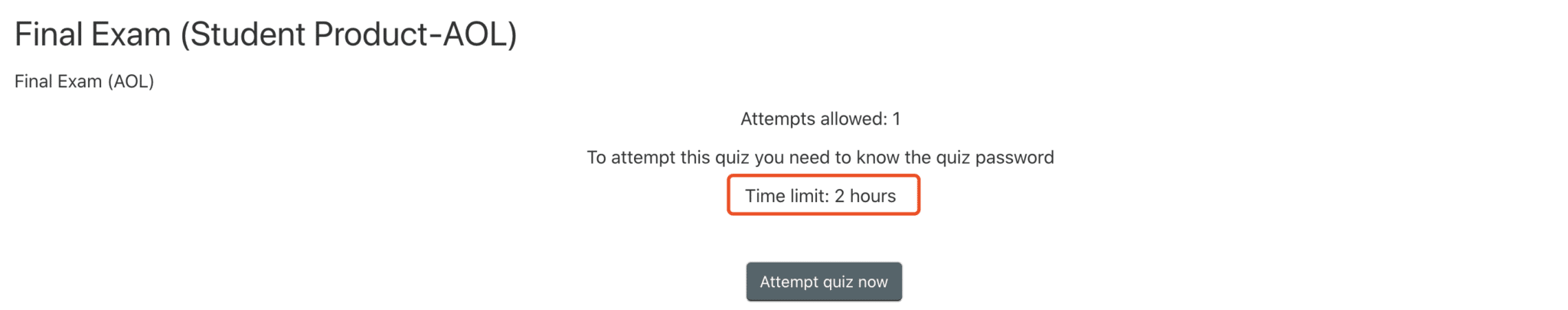 Exam time limit